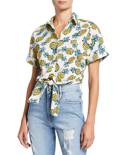 Vera Pineapple Button-Down Tie-Front Crop Top