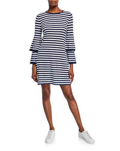 Striped Tiered-Sleeve Sweater Dress