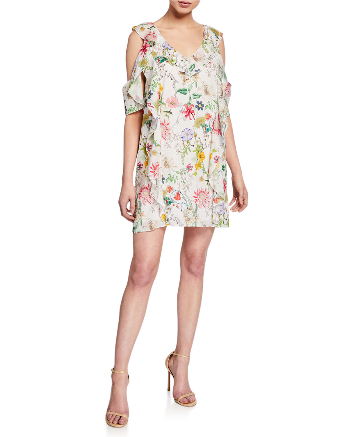 Floral V-Neck Cold-Shoulder Mini Ruffle Shift Dress