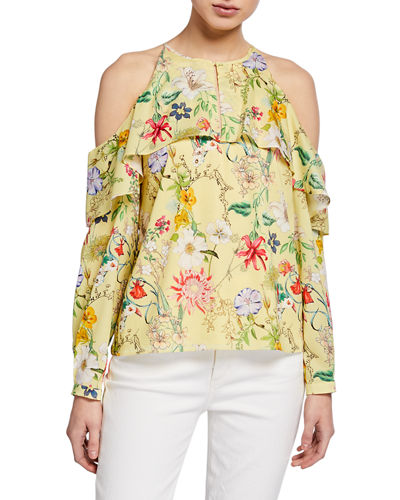 Floral Cold-Shoulder Long-Sleeve Keyhole Halter Blouse