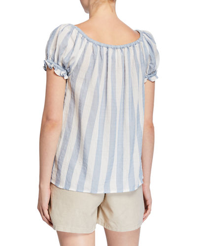 Awning Stripe Boat-Neck Cap-Sleeve Top