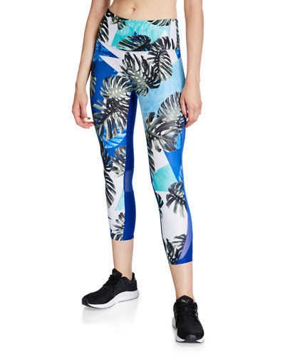 Monrow Tropical Mesh-Back Mid-Calf Capri Leggings