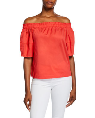 LAUNDRY BY SHELLI SEGAL | Off-The-Shoulder Lantern-Sleeve Top | Goxip