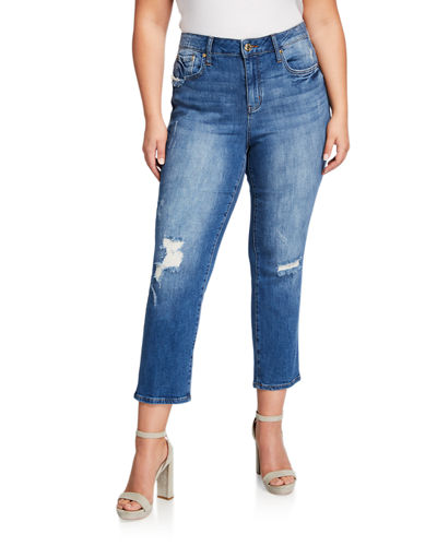 Plus Size High-Rise Grommet Straight-Leg Cropped Jeans