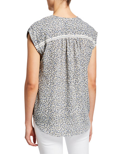 Printed Cap-Sleeve Shirttail Top