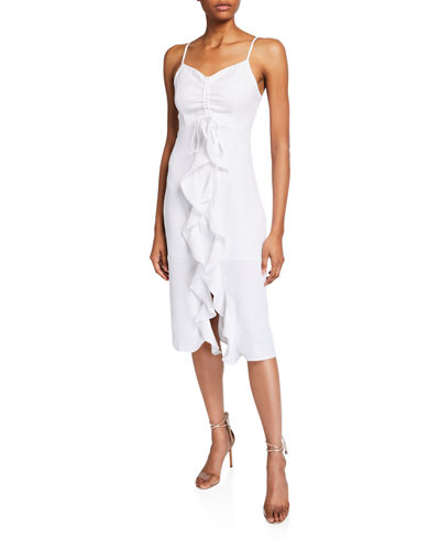 Ruched Ruffle-Front Dress
