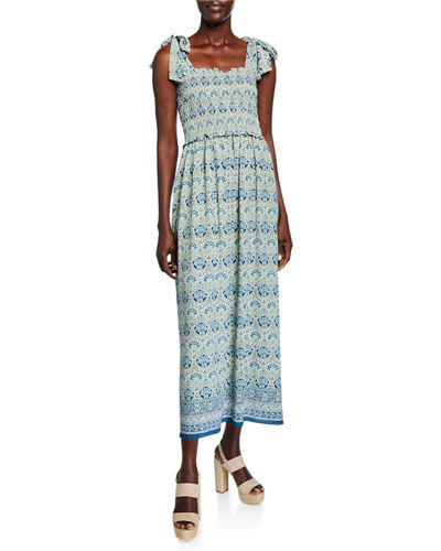 Printed Tie-Strap Smocked-Bodice Maxi Dress