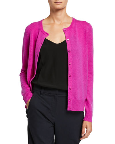 Cashmere Button-Front Basic Cardigan