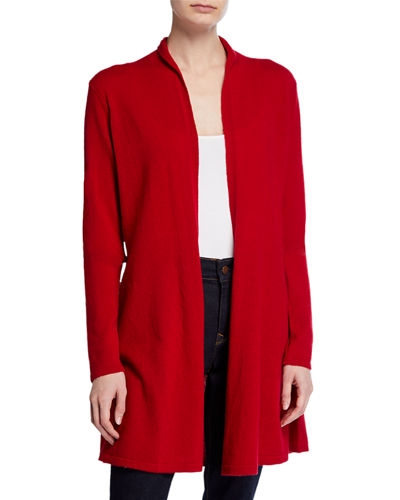 Cashmere Open-Front Fit-and-Flare Cardigan