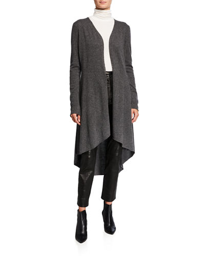 Cashmere High-Low Fishtail-Hem Duster