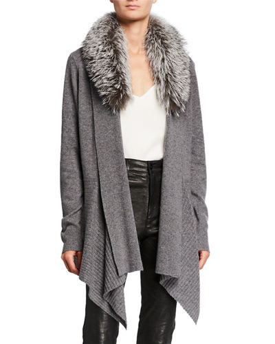Cashmere Cascade Cardigan w/ Detachable Fox Fur Collar