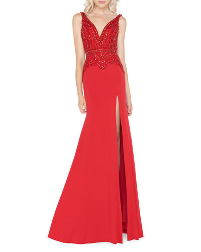 Embellished Jersey Trumpet Gown with Thigh Slit