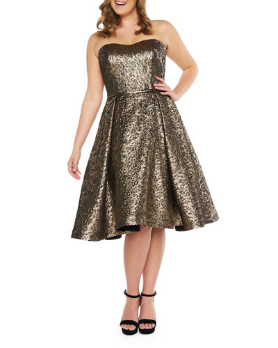 Plus Size Strapless Sweetheart Metallic Jacquard Fit-&-Flare Dress