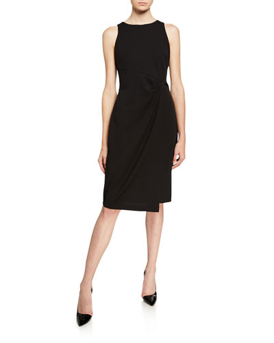 Sleeveless Waist-Drape Sheath Dress
