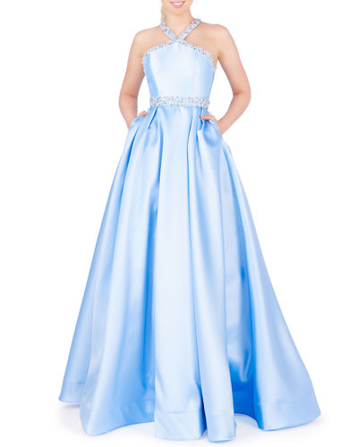 Embellished Halter-Neck Pleated Ball Gown