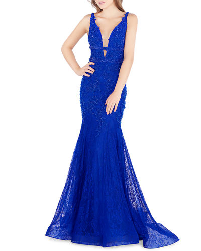 Plunging-Neck Floral Lace Mermaid Gown
