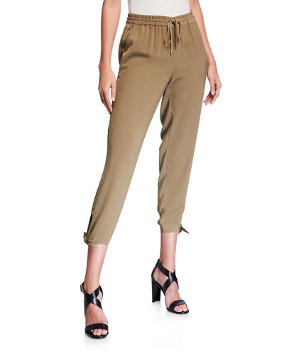 Side-Tie Cropped Track Pants