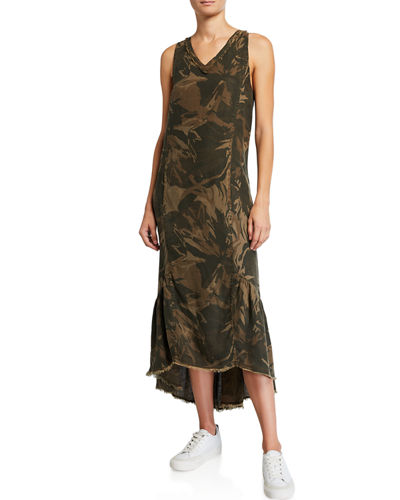 Camo Tropical V-Neck Sleeveless High-Low Dress