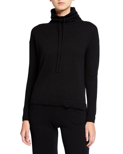 Drawstring Funnel-Neck Cashmere Sweater