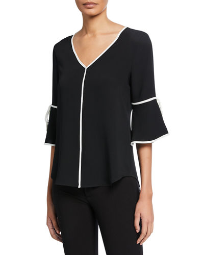 Contrast Piped V-Neck Top