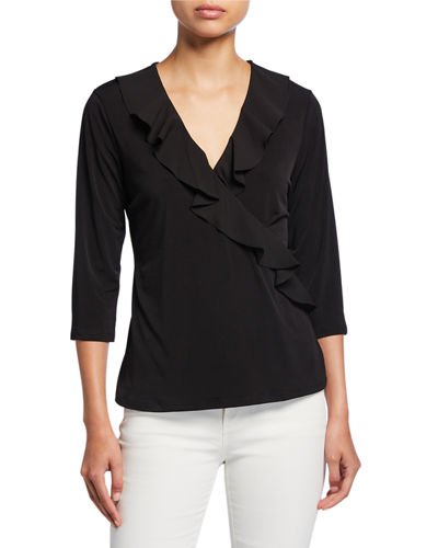 Ruffled Faux-Wrap Top