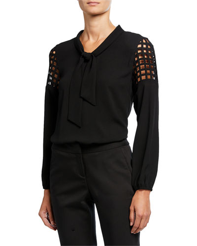 Lattice Tie-Neck Blouse