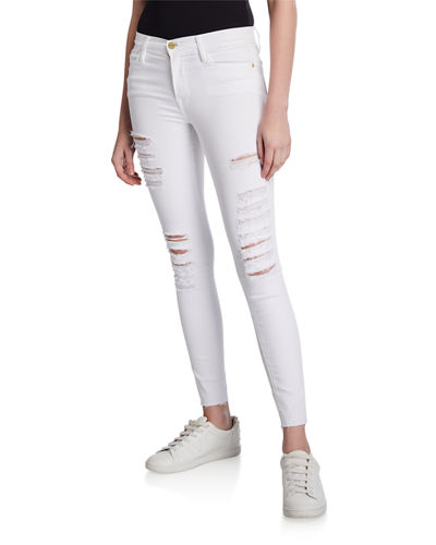 Le High Skinny Ripped Raw-Edge Pants