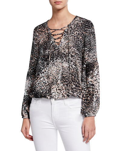 Evelyn Lace-Up Patterned Blouse