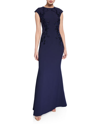 Beaded Embroidery Capped Sleeve Trumpet Gown