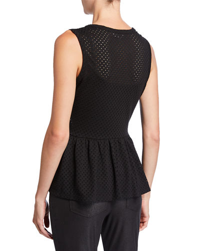 Peplum Eyelet Sleeveless Top