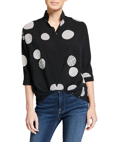 Dot-Print Gathered Front Shirttail Blouse