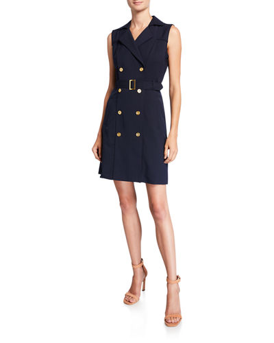Double-Breasted Sleeveless Coat Dress