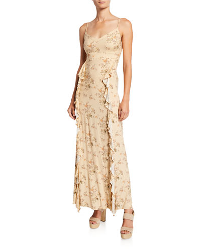 Heirloom Lace-Up Back Ruffle Maxi Dress