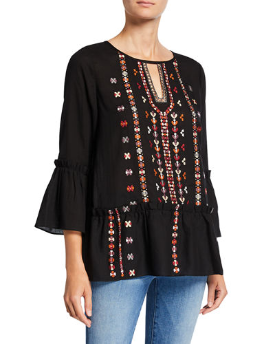 Embroidered 3/4-Sleeve Boho Top