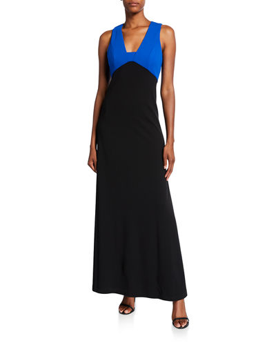 Colorblock V-Neck Sleeveless Gown