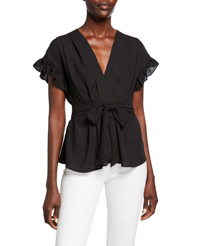 V-Neck Ruffle-Sleeve Tie-Waist Top