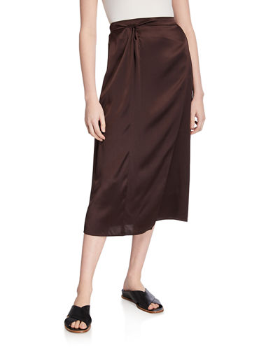 Paneled Knot-Front Silk Midi Skirt