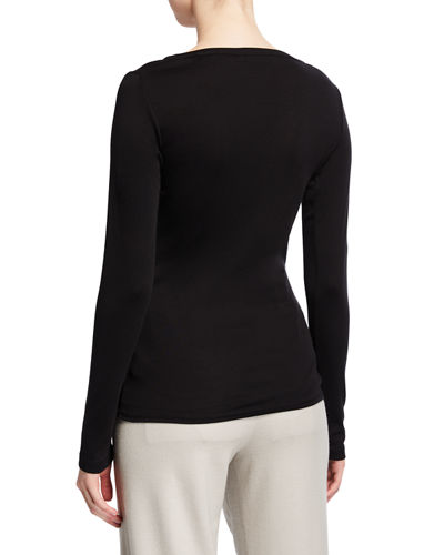 Long-Sleeve V-Neck Cotton Tee