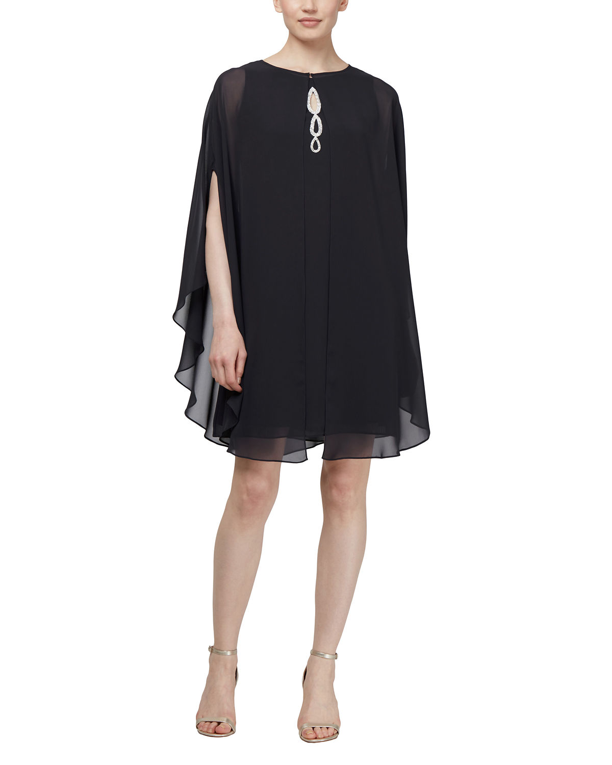 Beaded Keyhole Cocktail Dress with Capelet
