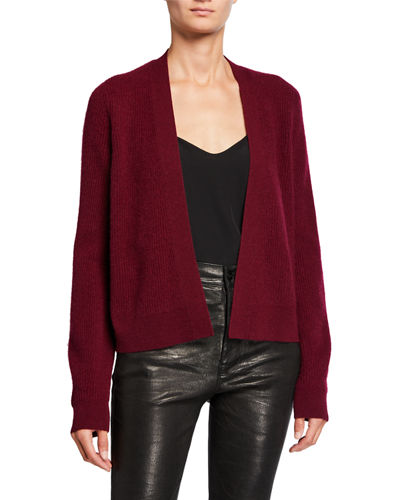 Cashmere Ribbed Open-Front Short Cardigan