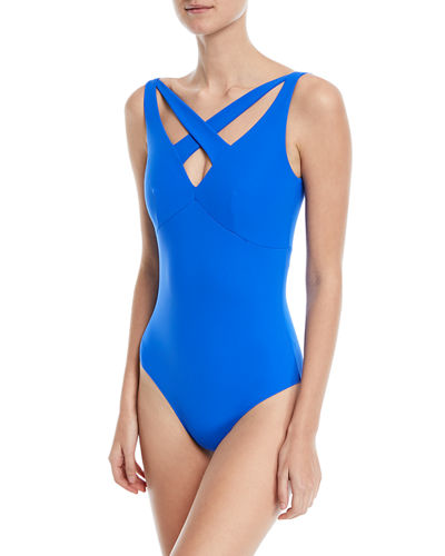 Clorinda Strappy Cutout V-Neck One-Piece Swimsuit