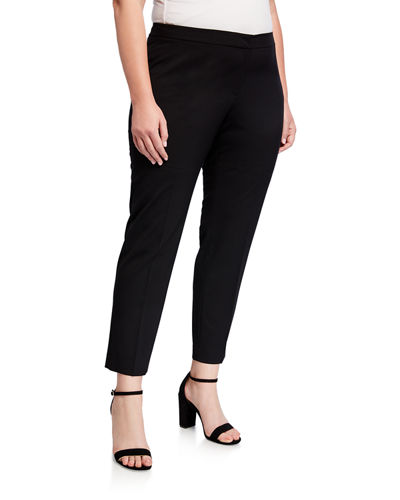 Plus Size Wool Flat-Front Ankle Pants