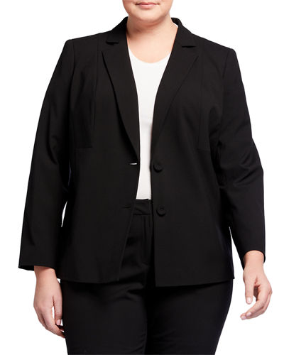 Plus Size Henning Two-Button Stretch-Wool Jacket