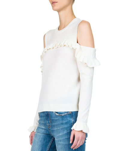 Jumper Cold-Shoulder Long-Sleeve Ruffle Top
