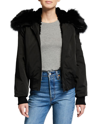 Contrast Rabbit Fur Bomber Jacket