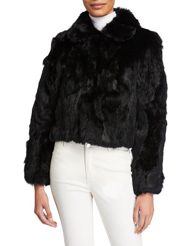 Textured Rabbit Fur Jacket