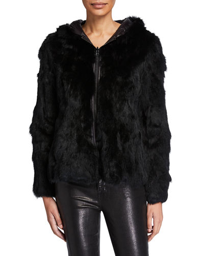 Reversible Rabbit Fur Hooded Jacket