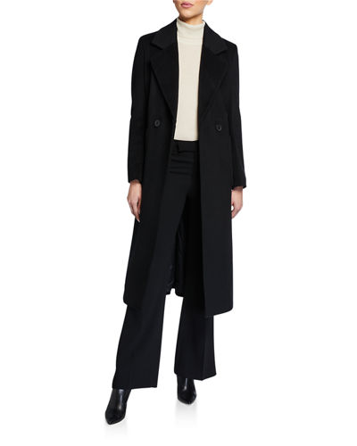 Maxi Wool-Blend Double-Breasted Coat