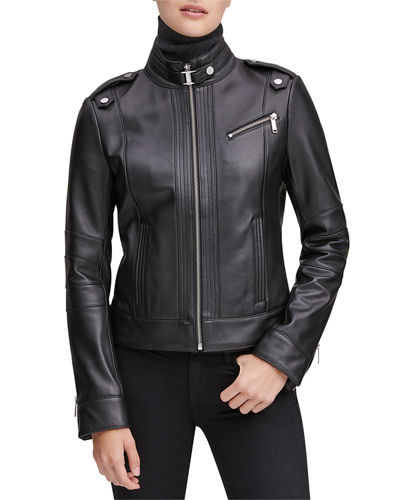 Rego Leather Stand Collar Moto Jacket