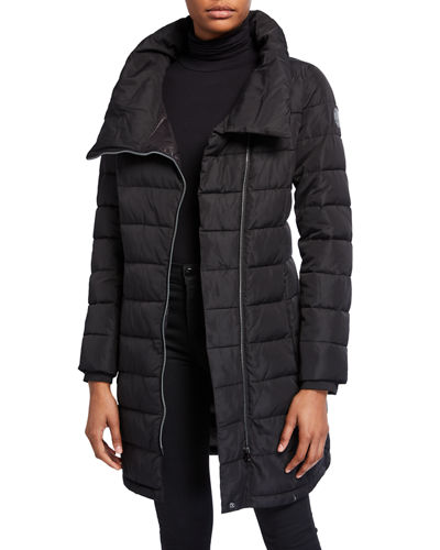 Asymmetric-Zip Packable Puffer Coat